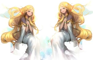 Rating: Safe Score: 51 Tags: aqua_eyes blonde_hair dress juuni_kokuki long_hair nal_(nal's_pudding) wristwear User: mikuna