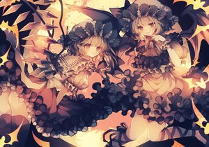 Rating: Safe Score: 54 Tags: 2girls blonde_hair dress flandre_scarlet halloween hat pointed_ears polychromatic red_eyes remilia_scarlet short_hair thighhighs touhou vampire wings wiriam07 User: BattlequeenYume