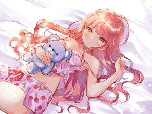 Rating: Safe Score: 59 Tags: blush long_hair miyakoto original pajamas pink_hair shorts teddy_bear yellow_eyes User: sadodere-chan