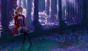 Rating: Safe Score: 91 Tags: animal blonde_hair blue_eyes dress fate/extra fish heiyuen jpeg_artifacts nipples pantyhose petals saber_extra see_through shade signed water User: minabiStrikesAgain
