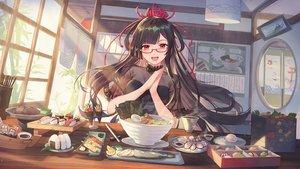 Rating: Safe Score: 133 Tags: atdan brown_hair drink food glasses long_hair onmyouji red_eyes tagme_(character) User: BattlequeenYume