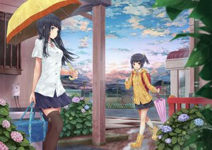 Rating: Safe Score: 164 Tags: 2girls black_hair clouds hourainingyou kneehighs original skirt sky thighhighs umbrella User: FormX