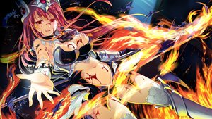 Rating: Questionable Score: 218 Tags: armor blood breasts chobipero cleavage fire game_cg hagall_brunhild long_hair navel pink_hair red_eyes shin_shirogane_no_soleil skyfish spear thighhighs torn_clothes weapon User: Wiresetc