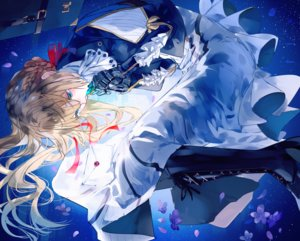 Rating: Safe Score: 15 Tags: aqua_eyes blonde_hair boots braids cherry_blossoms dress flowers gloves long_hair ribbons tagme_(artist) techgirl violet_evergarden violet_evergarden_(character) User: BattlequeenYume