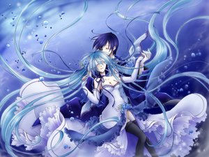 Rating: Safe Score: 114 Tags: aqua_hair blue_hair bow cantarella_(vocaloid) dress flowers fujie hatsune_miku kaito male mask thighhighs vocaloid User: RyuZU