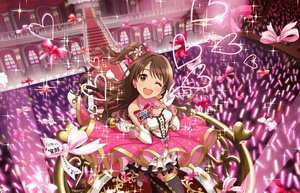 Rating: Safe Score: 7 Tags: blush bow brown_eyes brown_hair dress elbow_gloves gloves idolmaster idolmaster_cinderella_girls idolmaster_cinderella_girls_starlight_stage long_hair shimamura_uzuki stairs tagme_(artist) thighhighs wink User: RyuZU