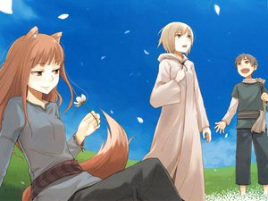 Rating: Safe Score: 22 Tags: animal_ears ayakura_juu blonde_hair brown_hair craft_lawrence flowers gray_eyes gray_hair green_eyes horo long_hair nora_ardent petals red_eyes short_hair sky spice_and_wolf tail wolfgirl User: Kulag