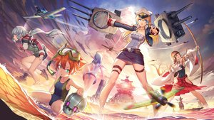 Rating: Questionable Score: 60 Tags: aircraft aqua_eyes aqua_hair ass blonde_hair blush boat bow bow_(weapon) brown_hair clouds combat_vehicle dress gray_hair green_eyes group hat japanese_clothes long_hair madyy necklace orange_hair panties pink_eyes skirt sky spread_legs striped_panties swimsuit underwear uniform upskirt water weapon User: RyuZU