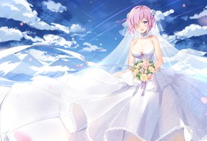 Rating: Safe Score: 91 Tags: blush breasts cleavage clouds dress fate/grand_order fate_(series) flowers headdress mash_kyrielight maya_g pink_hair purple_eyes see_through short_hair signed sky tears wedding_attire User: sadodere-chan