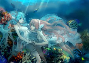 Rating: Safe Score: 58 Tags: 2girls amo11315 animal bubbles dress fish hatsune_miku magnet_(vocaloid) megurine_luka underwater vocaloid User: FormX