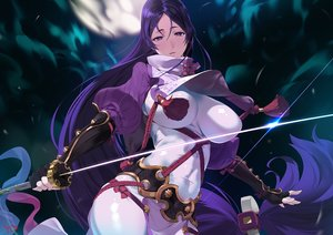 Rating: Safe Score: 129 Tags: bodysuit breasts elbow_gloves fate/grand_order fate_(series) gloves katana long_hair minamoto_no_yorimitsu_(fate) moon purple_eyes purple_hair rope signed skintight sword weapon yang-do User: otaku_emmy