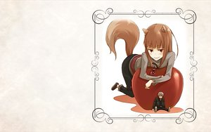 Rating: Safe Score: 8 Tags: animal_ears apple brown_hair craft_lawrence gray_hair horo long_hair red_eyes short_hair spice_and_wolf tail white wolfgirl User: wanjas