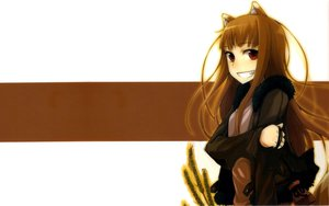Rating: Safe Score: 40 Tags: animal_ears brown_hair horo long_hair red_eyes spice_and_wolf tail white wolfgirl User: 秀悟