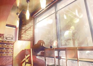 Rating: Safe Score: 31 Tags: drink fusui long_hair original polychromatic scenic signed User: FormX