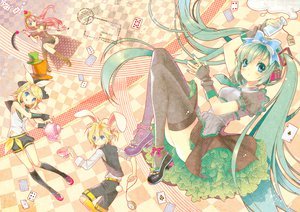 Rating: Safe Score: 83 Tags: alice_in_wonderland animal_ears aqua_hair blonde_hair blue_eyes boots bow boya bunny_ears crown dress drink gloves hatsune_miku headphones kagamine_len kagamine_rin kneehighs long_hair male megurine_luka pink_hair ribbons scythe short_hair shorts skirt tail thighhighs tie twintails vocaloid weapon wristwear User: HawthorneKitty