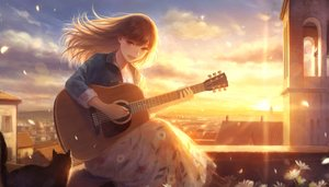 Rating: Safe Score: 67 Tags: animal brown_eyes brown_hair building cat city clouds flowers guitar instrument long_hair necklace original petals romiy rooftop scenic sky sunset User: RyuZU