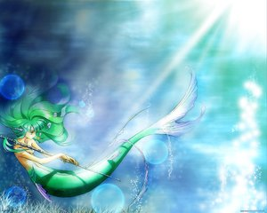 Rating: Safe Score: 28 Tags: animal bubbles fish green_hair long_hair mermaid tagme underwater water User: WhiteExecutor