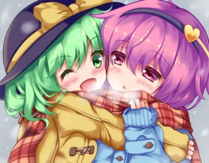 Rating: Safe Score: 26 Tags: 2girls blush close green_eyes green_hair hat headband komeiji_koishi komeiji_satori loli purple_eyes purple_hair scarf short_hair shoujo_ai touhou unory wink User: otaku_emmy