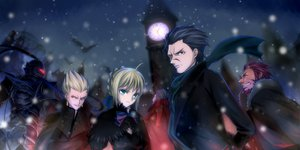 Rating: Safe Score: 80 Tags: alexander_(fate) artoria_pendragon_(all) black_hair blonde_hair bow brown_eyes brown_hair diarmuid_ua_duibhne_(fate) fate_(series) fate/stay_night fate/zero gilgamesh gilles_de_rais_(fate) green_eyes kino707 lancelot_(fate) red_eyes red_hair ribbons saber snow true_assassin User: Maboroshi