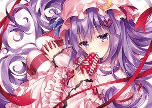 Rating: Safe Score: 64 Tags: dress hat nogi_takayoshi pantyhose patchouli_knowledge purple_eyes purple_hair ribbons touhou valentine User: Nepcoheart