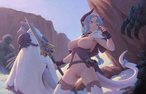 Rating: Explicit Score: 174 Tags: bigrbear braids breasts garter_belt gloves horns long_hair navel nipples no_bra nopan original pointed_ears ponytail pussy spear tail uncensored weapon User: BattlequeenYume