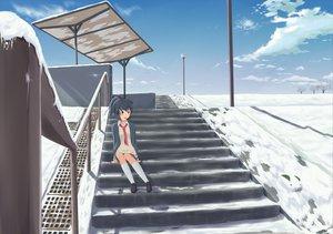 Rating: Safe Score: 53 Tags: clouds green_eyes kneehighs momo_no_kanzume original seifuku sky snow tie winter User: SciFi
