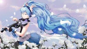 Rating: Safe Score: 51 Tags: 7th_dragon_2020 aliasing aqua_hair dress flowers hatsune_miku headphones icefurs instrument long_hair petals twintails violin vocaloid User: RyuZU