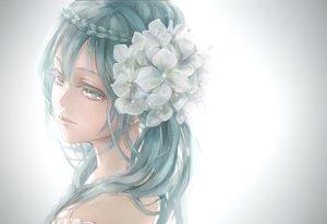Rating: Safe Score: 107 Tags: aqua_eyes aqua_hair close flowers gray hatsune_miku long_hair twintails vocaloid yamano_uzura User: FormX
