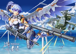 Rating: Safe Score: 36 Tags: aircraft blue_hair bodysuit breasts cleavage clouds combat_vehicle mechagirl original ponytail purple_eyes short_hair sky water weapon windmill wings yin_gren User: RyuZU