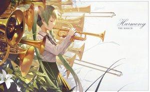 Rating: Safe Score: 40 Tags: flowers green_hair hatsune_miku instrument kieed long_hair ribbons seifuku skirt twintails vocaloid User: luckyluna