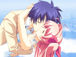 Rating: Safe Score: 36 Tags: chaos;head dress kiss long_hair nishijou_takumi pink_hair sakihata_rimi seifuku User: Tensa