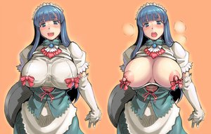 Rating: Questionable Score: 77 Tags: blue_hair blush breasts dress maid nipples open_shirt rozenweapon tagme User: opai