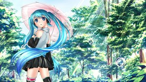 Rating: Safe Score: 80 Tags: blue_eyes blue_hair hatsune_miku thighhighs tree twintails umbrella vocaloid yuunagi_show User: FormX