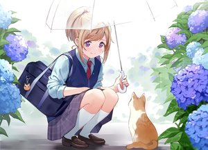 Rating: Safe Score: 76 Tags: animal blonde_hair cat crying flowers kneehighs original ponytail purple_eyes rain school_uniform tears umbrella urata_asao water User: BattlequeenYume