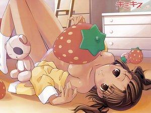 Rating: Questionable Score: 64 Tags: aihara_nana food fruit kimikiss loli no_bra open_shirt panties strawberry underwear User: Oyashiro-sama