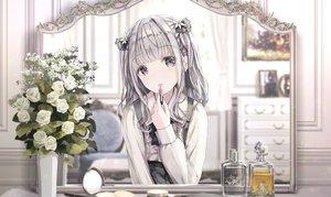 Rating: Safe Score: 51 Tags: apple228 flowers gray_eyes gray_hair lolita_fashion mirror original reflection rose shirt User: BattlequeenYume