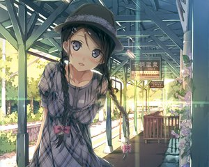 Rating: Safe Score: 312 Tags: black_hair blue_eyes braids dress hat kantoku original sunset User: Wiresetc