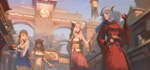 Rating: Safe Score: 88 Tags: animal_ears au_ra bicolored_eyes blonde_hair blue_eyes blue_hair brown_eyes brown_hair building catgirl chinese_clothes chinese_dress city dress final_fantasy final_fantasy_xiv food gloves group horns japanese_clothes kiwi_(1115168110) long_hair miqo'te User: SciFi