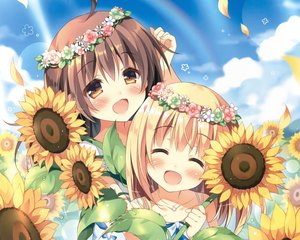 Rating: Safe Score: 79 Tags: 2girls blonde_hair brown_eyes brown_hair cropped flowers headdress loli long_hair original pan_(mimi) scan sunflower User: SciFi