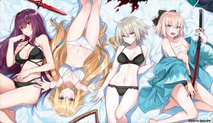 Rating: Questionable Score: 203 Tags: bandage barefoot blonde_hair blush breasts cleavage fate/grand_order fate_(series) gray_eyes gray_hair group jeanne_d'arc_alter jeanne_d'arc_(fate) long_hair navel okita_souji_(fate) panties petals purple_eyes purple_hair scathach_(fate/grand_order) shirako_miso short_hair sword underwear weapon User: RyuZU
