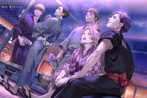 Rating: Safe Score: 22 Tags: all_male black_hair brown_eyes brown_hair clouds drink fan foo_midori glasses group japanese_clothes male original pink_eyes pink_hair purple_eyes purple_hair short_hair sky summer watermark yukata User: otaku_emmy