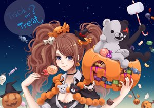 Rating: Safe Score: 53 Tags: blue_eyes breasts brown_hair candy cleavage dangan-ronpa enoshima_junko food halloween hat lady_g lollipop long_hair monokuma pumpkin twintails witch_hat User: ANIMEHTF