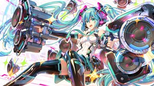 Rating: Safe Score: 46 Tags: aliasing aqua_hair green_eyes gun hatsune_miku headphones long_hair mechagirl microphone pinakes twintails vocaloid weapon User: Maboroshi