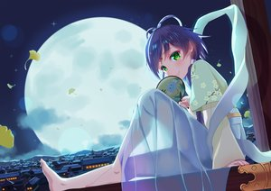 Rating: Safe Score: 34 Tags: barefoot blue_hair building chinese_clothes city fan green_eyes luo_tianyi moon sky vocaloid vocaloid_china zongmao User: BattlequeenYume