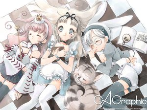Rating: Safe Score: 38 Tags: alice_in_wonderland alice_(wonderland) animal anthropomorphism cat cheshire_cat gagraphic logo queen_of_hearts rami watermark white_rabbit User: Oyashiro-sama