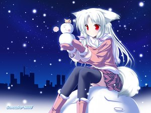 Rating: Safe Score: 76 Tags: christmas collar foxgirl inakoi kamishiro_mutsuki photoshop red_eyes santa_costume snow thighhighs white_hair User: kisumi