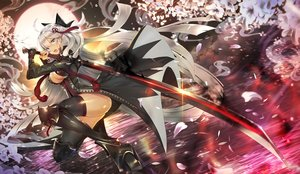Rating: Safe Score: 24 Tags: breasts cherry_blossoms cleavage fate/grand_order fate_(series) flowers gray_eyes khanshin long_hair moon okita_souji_alter okita_souji_(fate) sky sword water weapon white_hair User: BattlequeenYume
