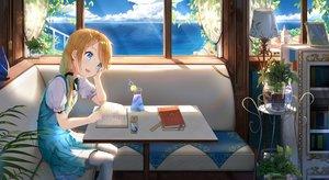 Rating: Safe Score: 42 Tags: aqua_eyes blonde_hair blush book cg_(2686805355) couch dress drink flowers original ponytail User: RyuZU