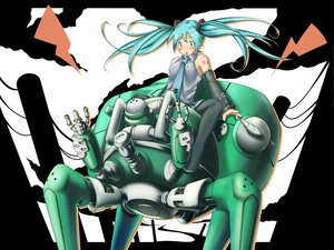 Rating: Safe Score: 57 Tags: aqua_hair crossover ghost_in_the_shell hatsune_miku robot tachikoma thighhighs til twintails vocaloid User: HawthorneKitty