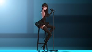 Rating: Safe Score: 231 Tags: dress elbow_gloves gloves long_hair maredoro microphone no_bra original photoshop red_eyes thighhighs User: gnarf1975